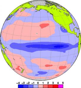 出展:気象庁ホームページ、ラニーニャ現象の際の海水温