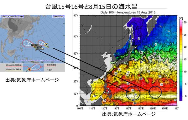 台風15号16号の発生個所と海水温の関係