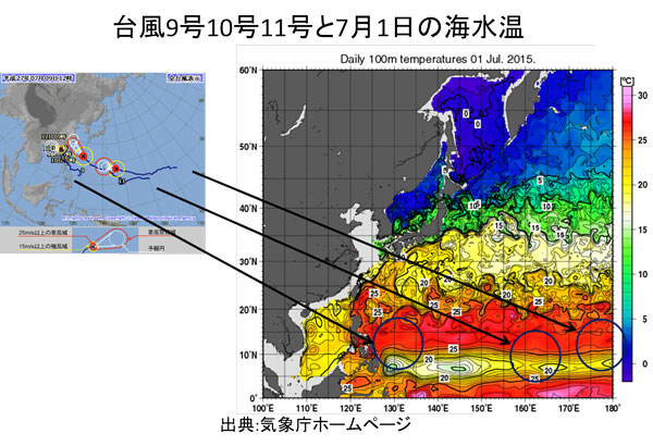 台風9号10号11号の発生場所と海水温の関係