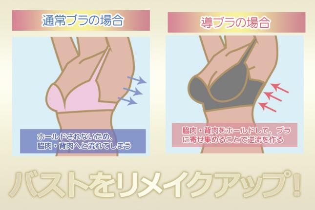 導-MICHIBIKI-脇肉流動リメイクアップブラ効果